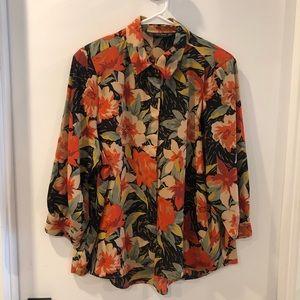 Zara floral flower button down shirt womens
